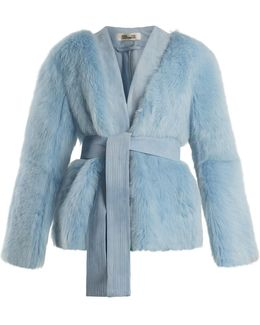 Suede-trimmed V-neck Shearling Jacket