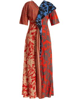 Multi-print Silk Crepe De Chine Dress