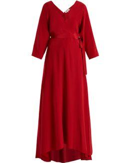 V-neck Wrap Silk Crepe De Chine Gown