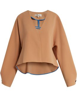 V-neck Peplum-back Cropped Cady Jacket