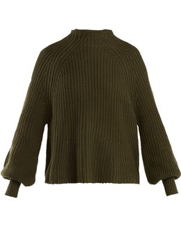 Long-sleeved Cotton And Cashmere-blend Sweater