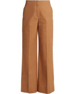 Maslin High-rise Wide-leg Cotton Trousers