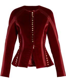 Cavendish Collarless Stretch-cotton Velvet Jacket