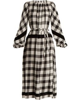 Tie-waist Checked Cotton-blend Dress