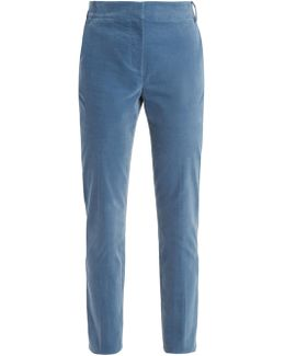 Slim-leg Cotton-blend Trousers