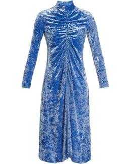 Ruched-detail High-neck Crushed-velvet Dress