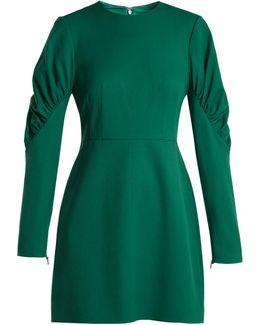 Florence Gathered-sleeve Mini Dress