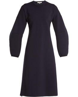 Sculptured-sleeve Wool-blend Ribbed-knit Dress