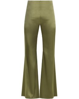 High-rise Flared Satin Trousers