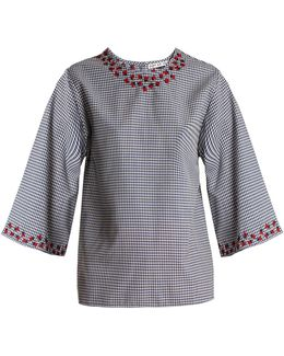Gasparilla Embroidered Gingham Cotton Top