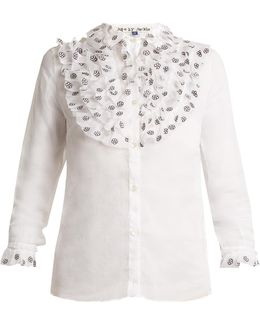 Fairy Floral-embroidered Cotton-organza Shirt