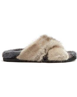 Crossover Strap Mink-fur Slides
