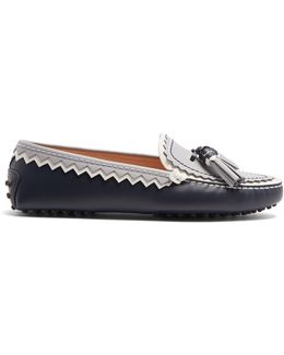 Gommini Zigzag And Tassel Leather Loafers