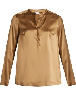 Stretch-silk Beaded Blouse