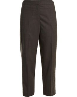 Side-stripe Tapered-leg Wool Cropped Trousers
