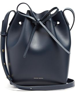 Navy-lined Mini Leather Bucket Bag