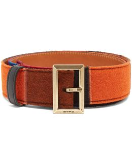 Colour-block Felt And Leather Belt