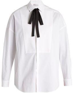 Tie-neck Stretch-cotton Shirt