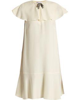Bow-embellished Ruffled Crepe Dress