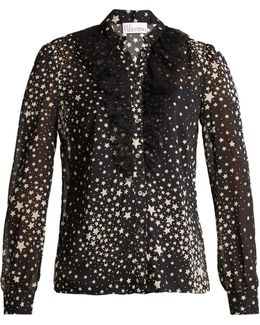 Ruffled-tulle Star-print Stretch-silk Blouse
