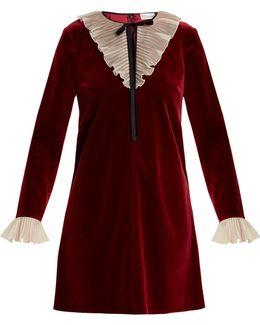 Tie-neck Ruffled Velvet Mini Dress
