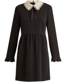 Stretch-crepe Long-sleeved Dress