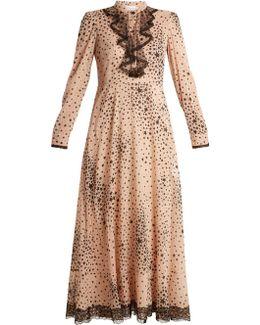 Star-print Silk-blend Chiffon Dress