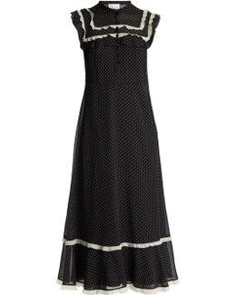 Polka-dot Print Ruffled Crepe De Chine Dress