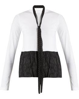 Tie-neck Contrasting-hem Cotton Top