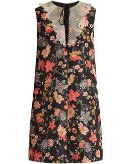 Floral-jacquard Tie-neck Mini Dress