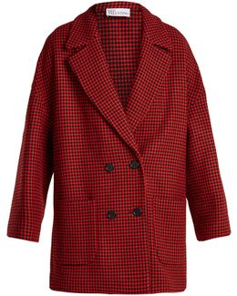 Double-breasted Hound's-tooth Wool-blend Coat