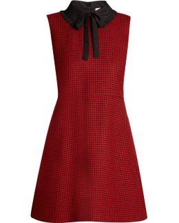 Tie-neck Hound's-tooth Wool Dress