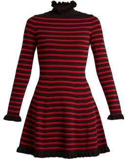 High-neck Striped A-line Dress
