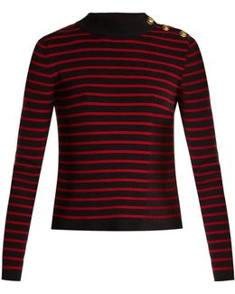 Striped Open-back Cotton Sweater