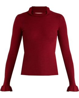 Ruffle-trimmed Cashmere And Silk-blend Sweater