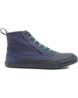Rubber And Canvas High-top Trainers