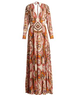 Bengal Floral-print Pleated Crepe Gown