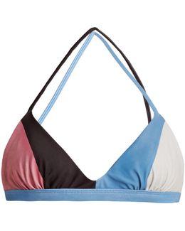 Block-print Triangle Bikini Top