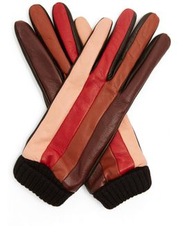 Striped Leather Gloves