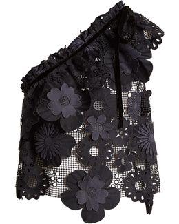 One-shoulder Floral-mesh Top