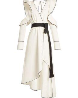 Cold-shoulder Asymmetric-hem Midi Dress