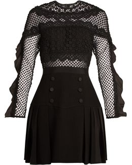 Bellis Guipure-lace And Pleated-crepe Dress