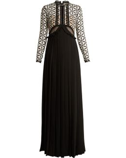 Lace-panel Long-sleeved Dress