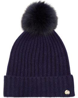 Fur Pompom-embellished Wool-blend Hat