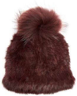 Pompom-embellished Mink And Rabbit-fur Hat