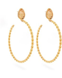Quartz And Gold-plated Earrings