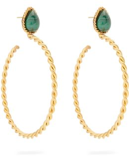Malachite And Gold-plated Earrings