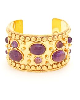 Amethyst And Gold-plated Cuff