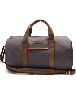 Leather-trimmed Technical-fabric Holdall