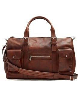 Buckle-handle Tarnished-leather Holdall